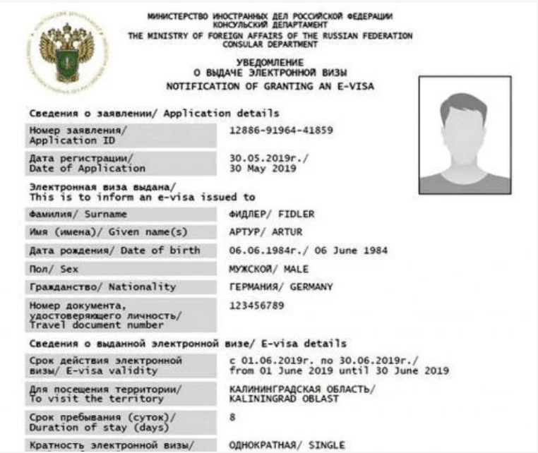 Пример электронной визы